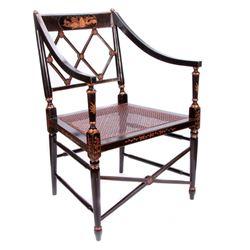 Pair of ebonized chairs.