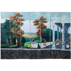 A late 18th/early19th century continental paper seven panel landscape screen.