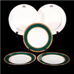 Two sets of dinner plates.