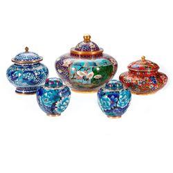 Five cloisonne bowls.