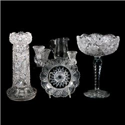 A collection of cut crystal.