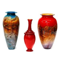 Three Art Glass vases.