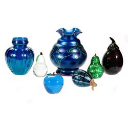 Seven pieces of Art Glass.