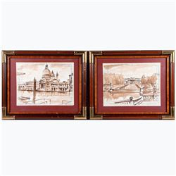 Two wash sketches of Venice on Gritti Palace Hotel stationary signed lower right: James L. Callahan.