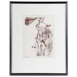 Lithograph of a nude signed P. Smith and dated 1998.