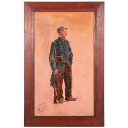 Early 20th century oil on board of a World War I French Soldier. Signed lower left Henry Hunt and da