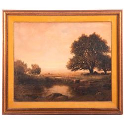 An oil on board landscape by George Vicat Cole (1833-1893) signed lower left/middle.