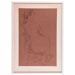 Ink on paper of a nude signed Roth lower right/center.