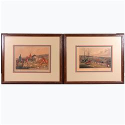 A pair of Hunting prints signed by English caricaturist Henry Alken (1785-1851) and dated 1820.
