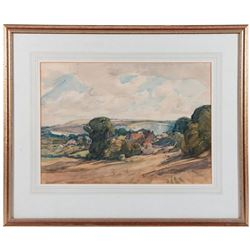 A watercolor landscape attributed to A. E. Vokes (1874-1964).
