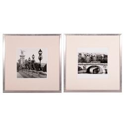 A pair of photographs of Paris bridges.