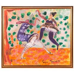 Gouache on paper of dancers attributed on artwork to Boris Gregoriev (1886-1939) signed in Cyrilic l