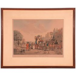 "A 19th century English print titled ""The Last Stage on the Portsmouth Road""."