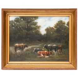 A pastoral oil on board landscape signed R. F. Merrill and dated 1910.