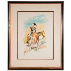 A watercolor of a horse and cowboy signed Barioli.