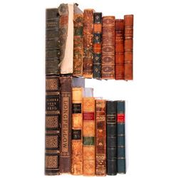 Fifteen various volumes and a print.