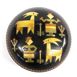 Russian Inlay Straw and Lacquer Wood Box