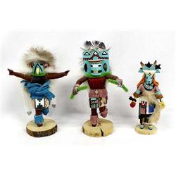 3 Native American Navajo Kachina Dolls