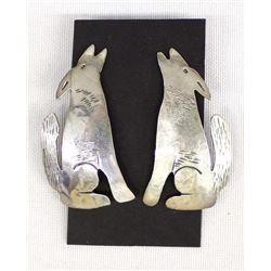 Navajo Sterling Silver Coyote Earrings