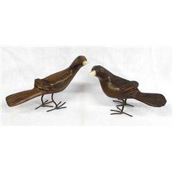 2 Carved Ironwood Birds