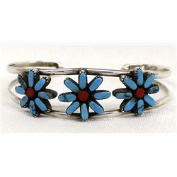Zuni Turquoise Coral Cuff Bracelet, Flower Motif