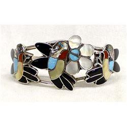 Zuni Sterling Inlay Hummingbird Bracelet, E. Gia