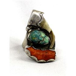 Navajo Sterling Turquoise Coral Claw Ring, 10.5