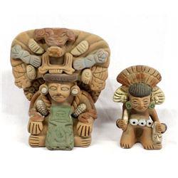 2 Mayan Pottery Replicas of Mayan Gods