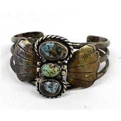 Vintage Navajo Silver Morenci Turquoise Bracelet