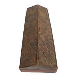 African Carved Wood Lidded Coffin Box