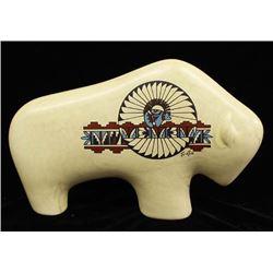Ceramic Buffalo with Design by Tu-oti