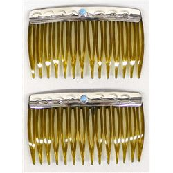 Navajo Sterling Turquoise Hair Combs by Dalgai