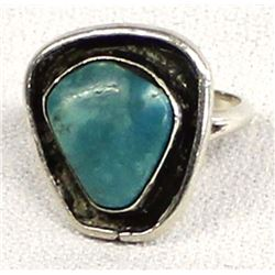 Vintage Navajo Silver Turquoise Ring, Size 5.5