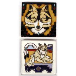 2 Masterworks Handcrafted Ceramic Art Tiles