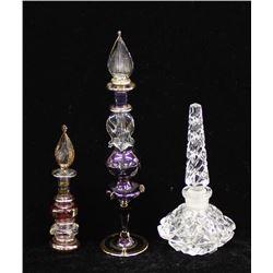 3 Glass Perfume Bottles