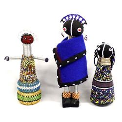 3 Traditional South African Ndebele Dolls