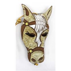 Handcrafted Glazed Slab Pottery Horse Head Decor