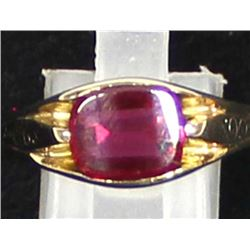 14K Yellow Gold and Lab Created Ruby Ring, Sz 12