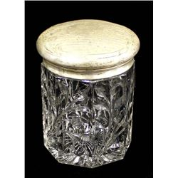 Antique Silver Plate and Crystal Biscuit Jar
