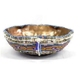 Hand Beaded Hammered Copper Bowl by Kills Thunder