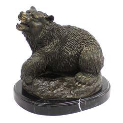 Toperkin Bronze Bear Statue on Marble Base