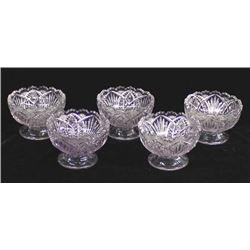 5 Antique Sun Purple Cut Glass Dessert Dishes