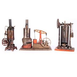 Three vintage model steam engines.
