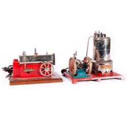 Two vintage model steam engines.