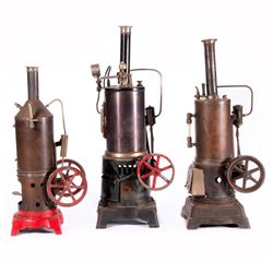 Three toy steam engines.