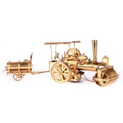 A brass steam roller.