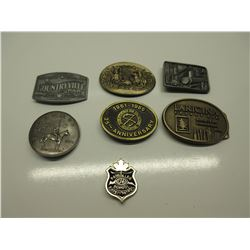 6 Belt Buckles and a School Patrol Badge