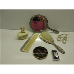 Mirror brush & comb set, compact, perfume atomizer, trinket box, porcelain baby shoes November