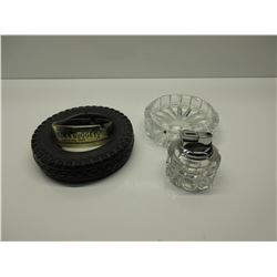 Tire Ashtray, Glass Ashtray with matching Lighter