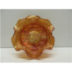 Carnival Glass Bowl Orange with Panther & Leaves